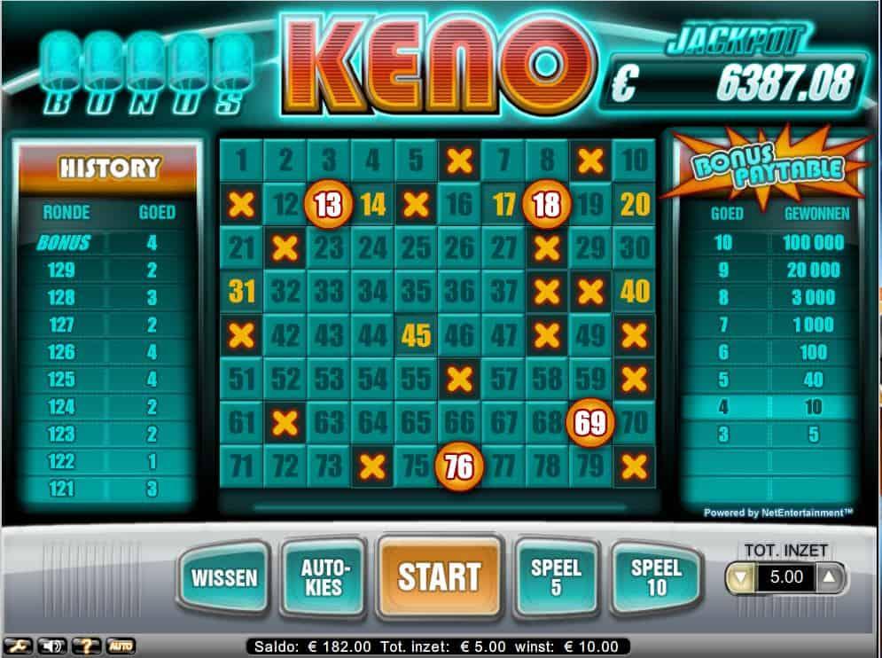 Keno Bonus spelen