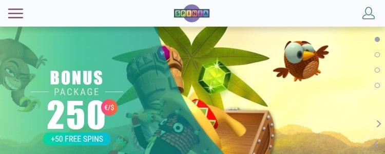 De mobiele website van Spinia Casino