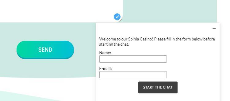 De klantenservice van het Spinia Casino